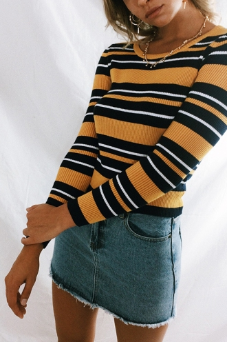 Out Of Mind Top - Mustard/Navy Stripe