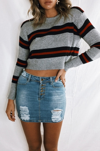 Snow Fall Top - Grey/Navy Red Stripe
