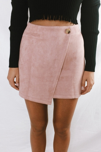 Miss Fine Skirt - Dusty Pink Suede