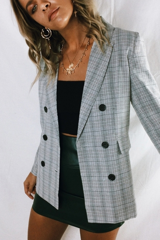 Smart Cookie Blazer - Light Grey Check
