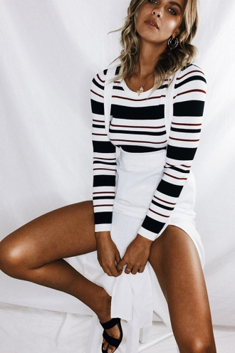 Out Of Mind Top - Navy/Maroon/White Stripe