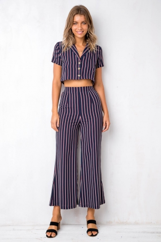 Italia Top - Navy Stripe
