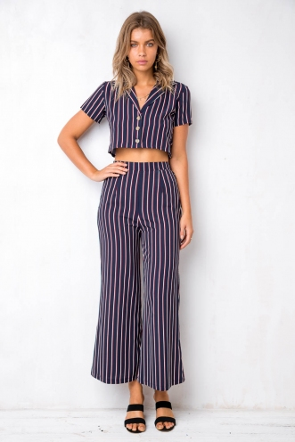 Italia Pants - Navy Stripe