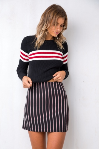 Paperback Skirt - Black/Red Stripe