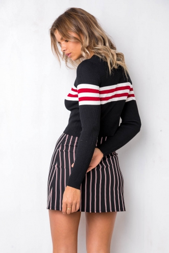 Tameeka Knit Top - Black/Red/White Stripe