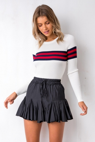 Tameeka Knit Top - White/Red/Navy Stripe