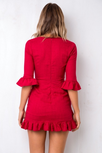Want to Stay Dress - Red