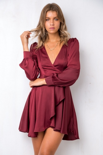 After Dark Dress - Maroon