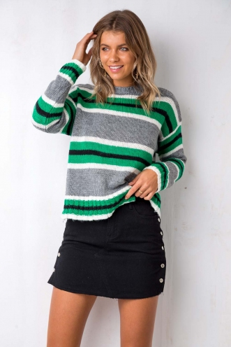 Well Wishes Jumper - Grey/Green Stripe