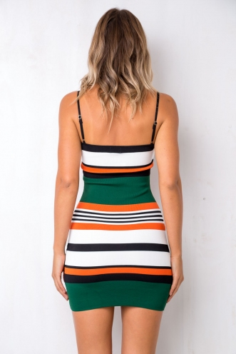Catch Me Dress - Orange/Green Stripe