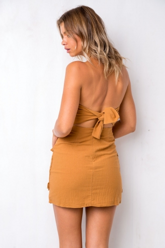 Dreams Dress - Brown Mustard
