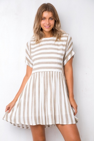 Perfect Day Dress - Beige/White Stripe