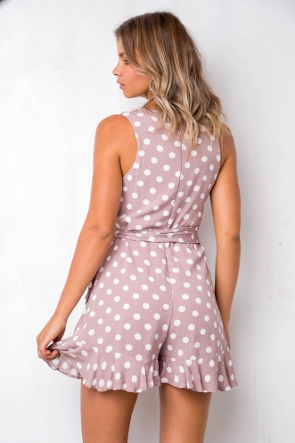Betty Playsuit - Mocha Polka Dot