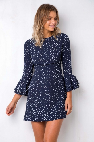 Ciara Dress - Navy Dot