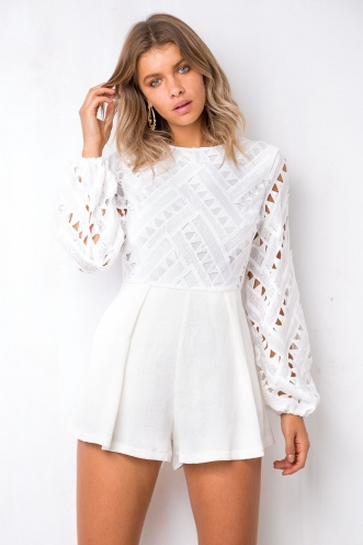 Somebody Else Playsuit - White