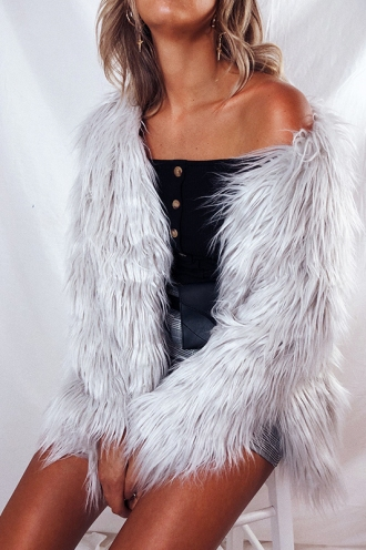 Who Dat? Faux Fur Coat - Grey/Silver