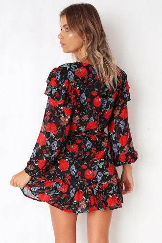 Stay Together Dress - Black Floral