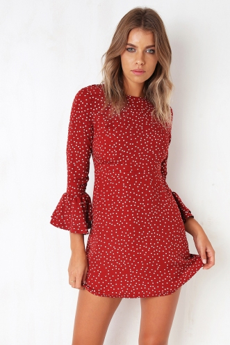 Ciara Dress - Maroon Dot