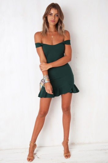Pick Up The Pieces Dress - Forest Green