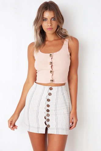 Not Like You Skirt - Beige/Navy Stripe