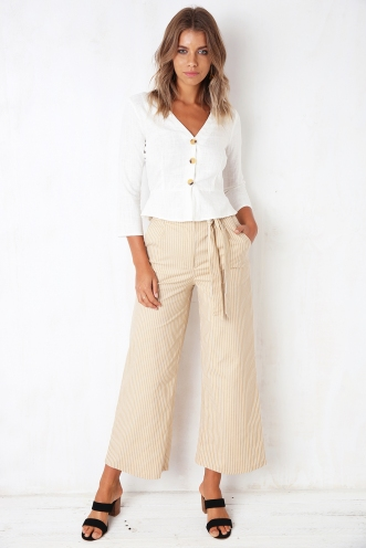 Country Road Pants - Beige Stripe
