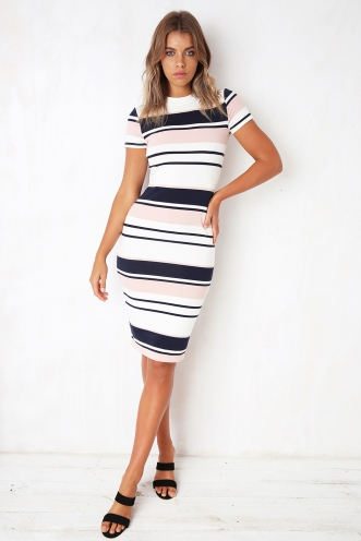 Between the lines dress - Navy/Pink Stripe