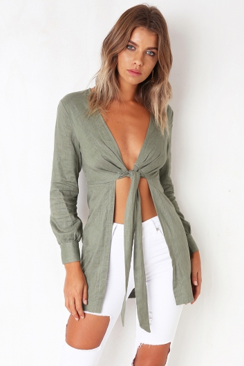 Talk Too Much Top - Khaki