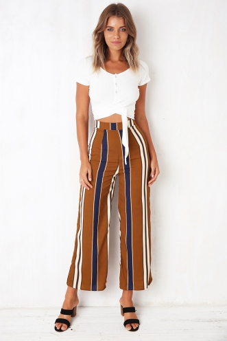 60's Baby Pants - Brown/Navy Stripe