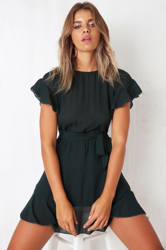 High Society Dress - Forest Green