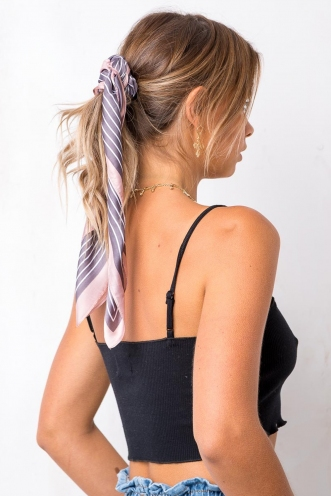 Straight Line Head Scarf - Grey Stripe/Pink