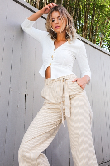 7e9eb5ad10f2 Country Road Pants - Beige Stripe SALE - Stelly