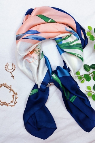 Bamboo Head Scarf - Pink/Blue/White