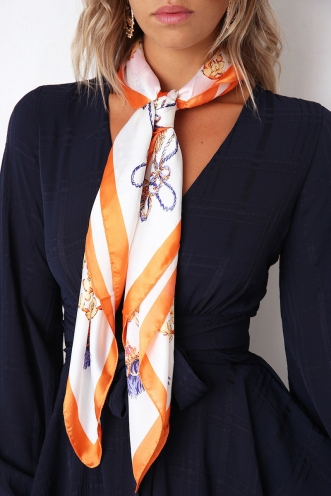 Mysteries Of Love Head Scarf - White/Orange/Blue