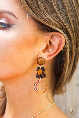 Love Lane Earrings - Gold/Brown Tortoise