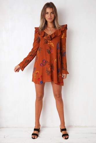Maze Of Love Dress - Brown Floral