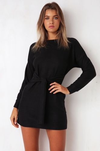 Dark Star Fleece Dress - Black