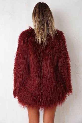 Girlgang Faux Fur Coat - Maroon