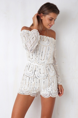 All Night Long Playsuit - White Sequin