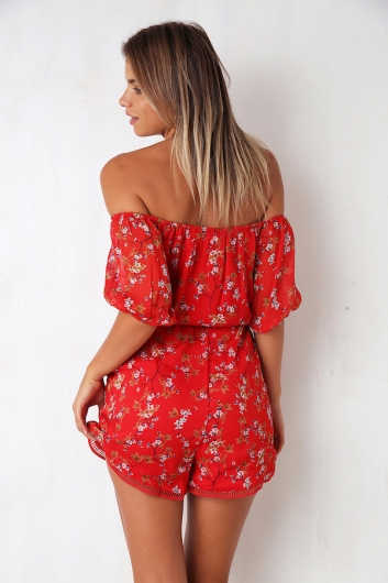 Livin It Up Playsuit - Red Print