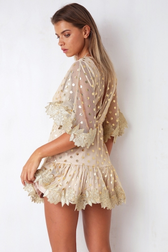 Gold Leaf Dress - Beige/Gold Spot