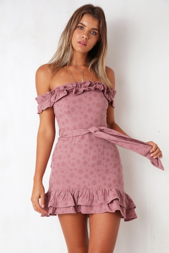 Molly Dress - Mauve Spot