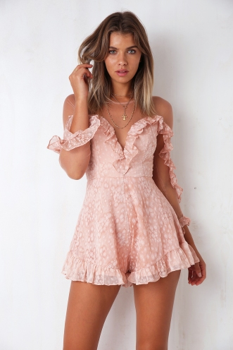 Next Time Playsuit - Pink Velvet Flower