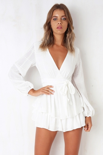 Truly Madly Deeply Playsuit - White