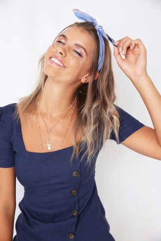 Top Knot Headband - Mix Blue