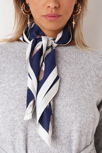Well Oh Well Head Scarf - Navy Feather
