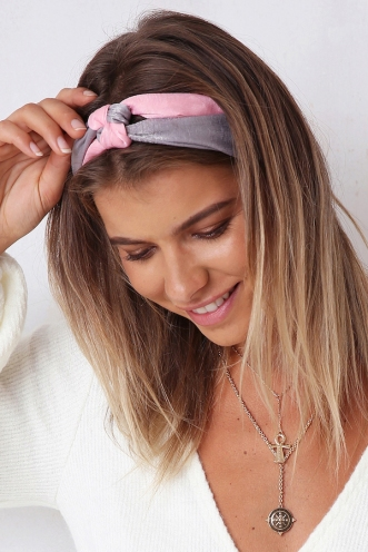 I Love Candy Headband - Grey/Pink