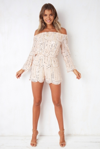 All Night Long Playsuit - Nude Sequin