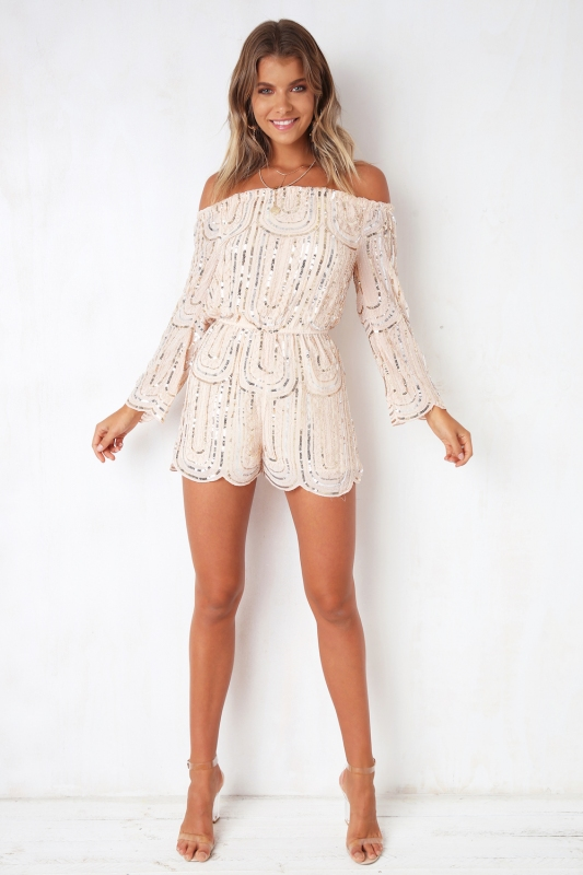 a8b3f19c6cc All Night Long Playsuit - Nude Sequin. Loading zoom