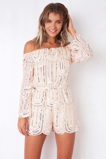 2bcbf4ccb6d All Night Long Playsuit - Nude Sequin - Stelly
