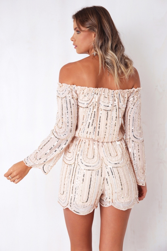 3bd8ce6238 All Night Long Playsuit - Nude Sequin. Loading zoom